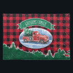 """Christmas Vintage Truck Add Name Placemat<br><div class=""""desc"""">This place mat features a winter scene of a classic red pickup truck driving through the snow, a fresh Christmas tree in the back. A wreath decorates the side of the truck and a green banner above has a family name for you to personalize. Background is a red and black...</div>"""