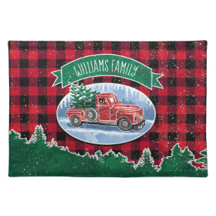 Vintage Red Truck Christmas Placemats.Christmas Vintage Truck Add Name Placemat