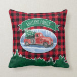 "Christmas Vintage Truck Add Name Throw Pillow<br><div class=""desc"">Add your family name to this holiday pillow featuring a winter scene of a classic red pickup truck driving through the snow, a fresh Christmas tree in the back. A green banner above has a family name for you to personalize with your own. Background is a red and black buffalo...</div>"