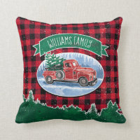 Christmas Vintage Truck Add Name Throw Pillow