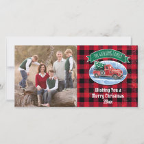 Christmas Vintage Truck Add Photo and Name Holiday Card