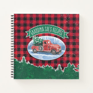 Christmas Vintage Truck Personalized Recipe Notebook
