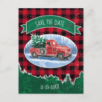 Christmas Vintage Truck Save The Date Announcement Postcard