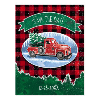 Christmas Vintage Truck Save The Date Postcard