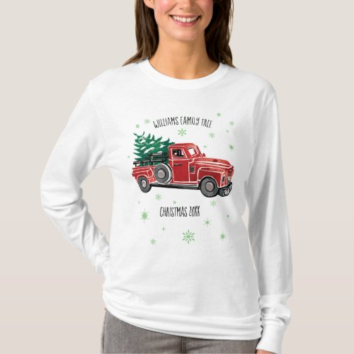 Christmas Vintage Truck w Snowflakes T_Shirt