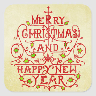 Christmas Vintage Typography Square Sticker