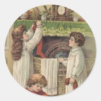 Christmas Vintage Victorian Children Stockings Sti Round Stickers