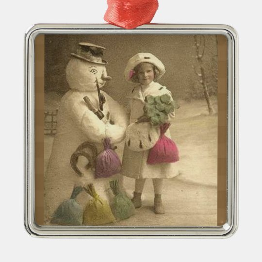 Christmas Vintage Victorian Girl Snowman Metal Ornament