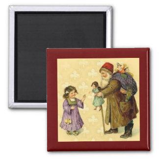 Christmas Vintage Victorian Santa w/Girl Magnet