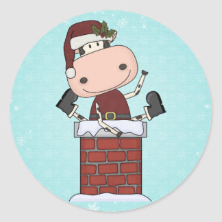 Christmas Visitor - Cow Classic Round Sticker