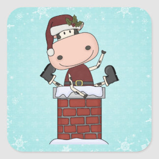 Christmas Visitor - Cow Square Sticker