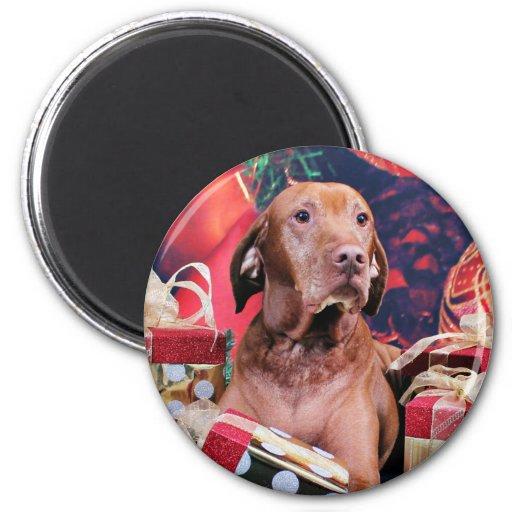 Christmas - Vizsla - Budda 2 Inch Round Magnet