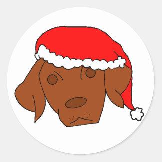 Christmas Vizsla Classic Round Sticker