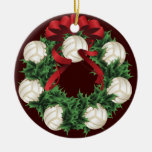 Christmas Volleyballs Wreath Ceramic Ornament