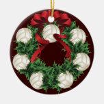 Christmas Volleyballs Wreath Ceramic Ornament