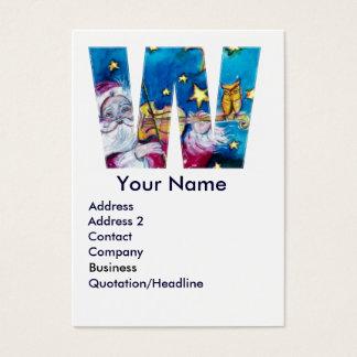 CHRISTMAS W LETTER / INSPIRED SANTA MONOGRAM BUSINESS CARD