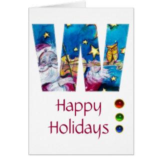 CHRISTMAS W LETTER INSPIRED SANTA MONOGRAM GREETING CARD