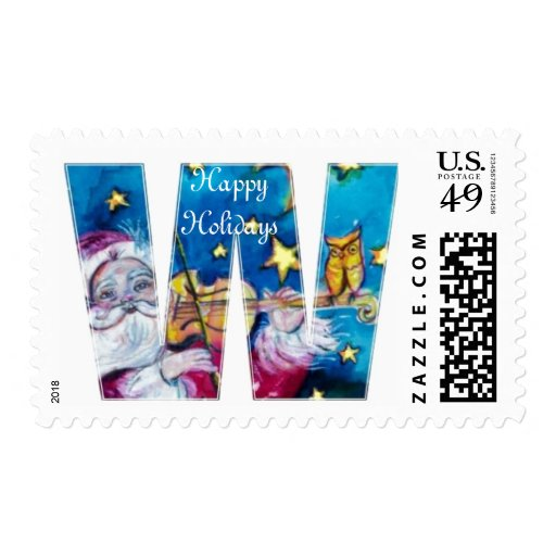 CHRISTMAS W LETTER / INSPIRED SANTA MONOGRAM POSTAGE STAMPS