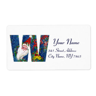 CHRISTMAS W LETTER / SANTA CLAUS WITH RED RIBBON SHIPPING LABEL