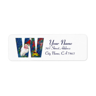 CHRISTMAS W LETTER / SANTA CLAUS WITH RED RIBBON RETURN ADDRESS LABEL