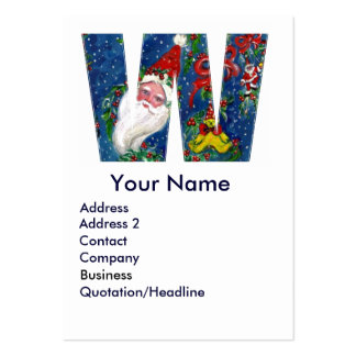 CHRISTMAS W LETTER / SANTA CLAUS WITH RED RIBBON LARGE BUSINESS CARDS (Pack OF 100)