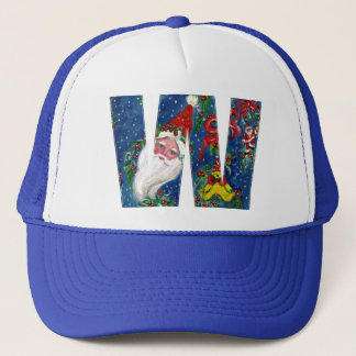 CHRISTMAS W LETTER / SANTA CLAUS WITH RED RIBBON TRUCKER HAT