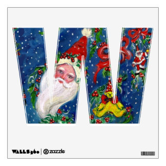 CHRISTMAS W LETTER / SANTA CLAUS WITH RED RIBBON WALL DECAL