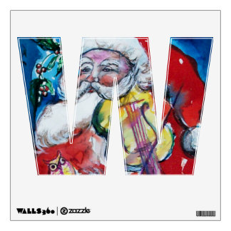CHRISTMAS W LETTER /SANTA  CLAUS WITH VIOLIN WALL DECALS