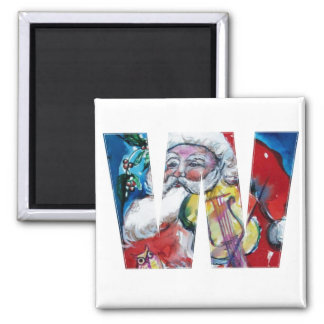 CHRISTMAS W LETTER / SANTA  WITH VIOLIN MONOGRAM 2 INCH SQUARE MAGNET