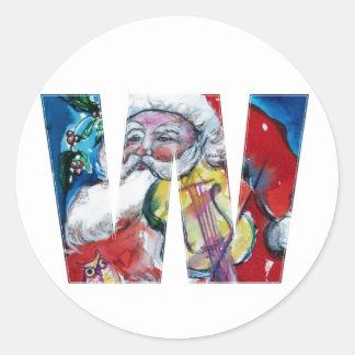 CHRISTMAS W LETTER  / SANTA WITH VIOLIN MONOGRAM CLASSIC ROUND STICKER