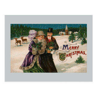 Christmas Walk in the Snow Vintage Illustration Postcard