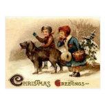 Christmas walk with the dog postcard