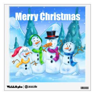 Christmas wall art snowmen family wall decal