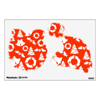 Christmas Wall Decals Wreath and Santa Hat