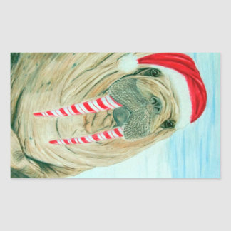 Christmas Walrus Rectangular Sticker