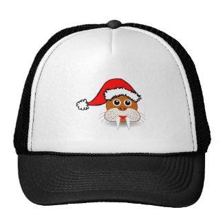 Christmas Walrus Wearing Santa Hat