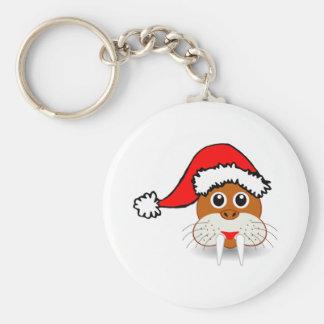 Christmas Walrus Wearing Santa Hat Keychain