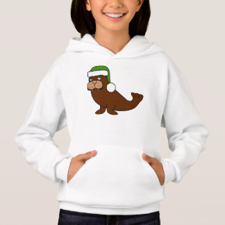 Christmas Walrus with Green Santa Hat Hoodie