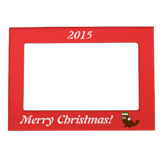 Christmas Walrus with Green Santa Hat Magnetic Picture Frame