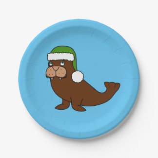 Christmas Walrus with Green Santa Hat Paper Plate
