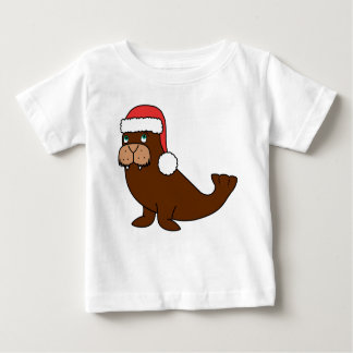 Christmas Walrus with Red Santa Hat Baby T-Shirt
