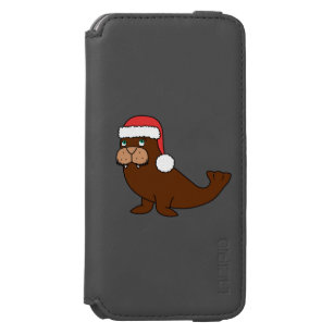 7171da7c039f4 Christmas Walrus with Red Santa Hat iPhone 6 6s Wallet Case