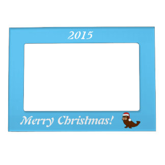 Christmas Walrus with Red Santa Hat Picture Frame Magnet
