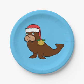Christmas Walrus with Santa Hat & Gold Bell Paper Plate
