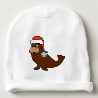 Christmas Walrus with Santa Hat & Silver Bell