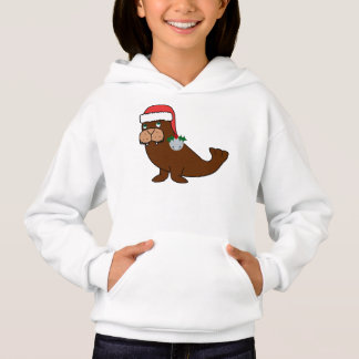 Christmas Walrus with Santa Hat & Silver Bell Hoodie
