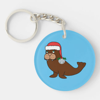 Christmas Walrus with Santa Hat & Silver Bell Keychain