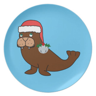 Christmas Walrus with Santa Hat & Silver Bell Melamine Plate