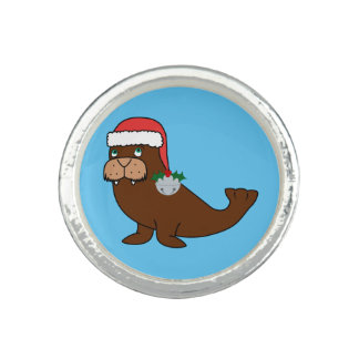 Christmas Walrus with Santa Hat & Silver Bell Photo Ring