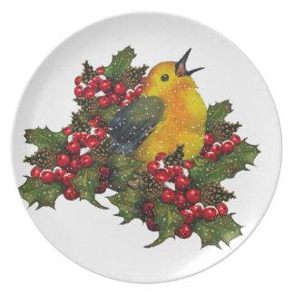 Christmas: Warbler, Bird on Holly, Berries, Snow Melamine Plate